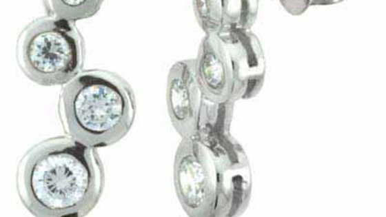 Sterling Silver Designer Inspired CZ Bubble Earrings