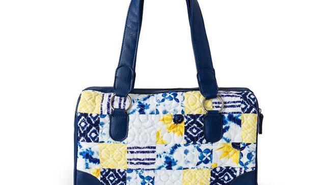 American Heritage Textiles 18928 Tess Handbag; Cobalt Sun - 13 x 7.5 x 3.75 in.