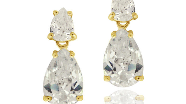 18K Gold over Sterling Silver CZ Double Teardrop Dangle Earrings