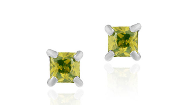 Sterling Silver Olive Green CZ 4mm Square Stud Earrings