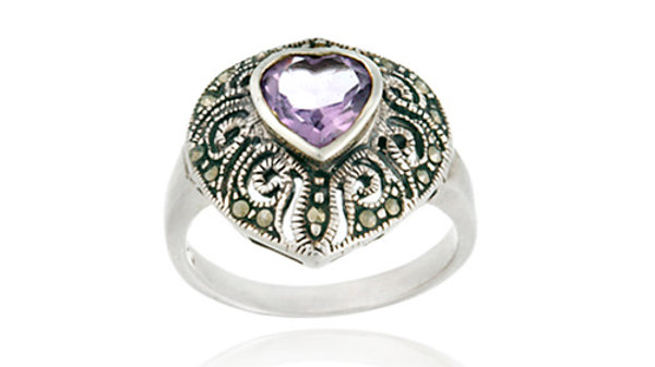 Sterling Silver Marcasite and Amethyst Filigree Heart Ring