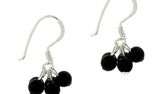 Sterling Silver Onyx Stone Bead Cluster Small Kid Earrings