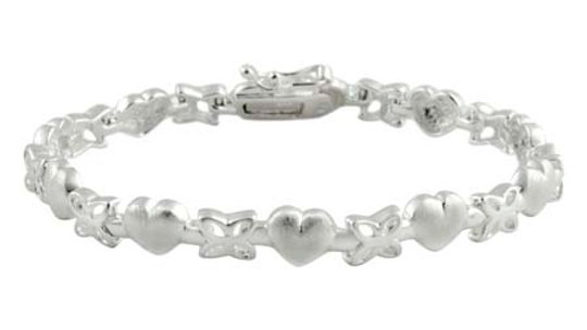 Sterling Silver Satin Heart & Flower Bracelet