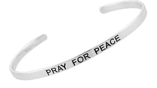 Sterling Silver 'Pray For Peace' Inspirational Bangle