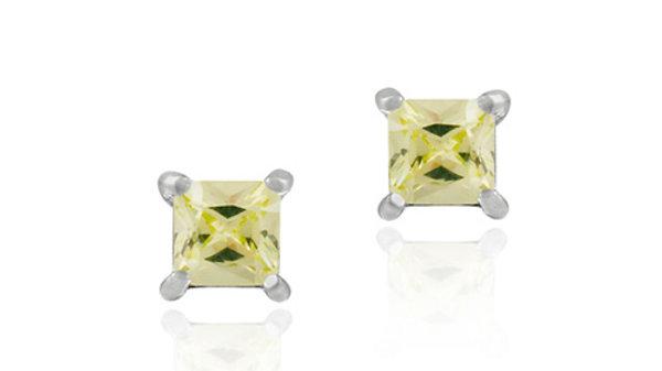 Sterling Silver Light Green CZ Square Stud Earrings