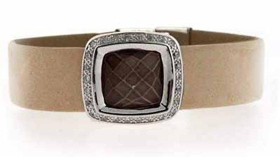 Sterling Silver Briolette-Cut Abalone & CZ Beige Leather Bracelet