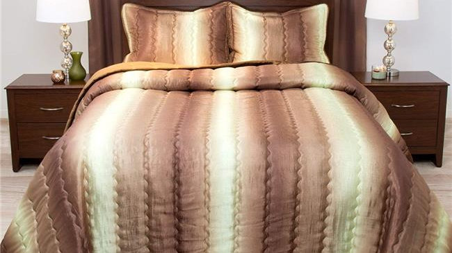Bedford Home Striped Metallic Bedspread Set; Twin Size - Chocolate & Taupe