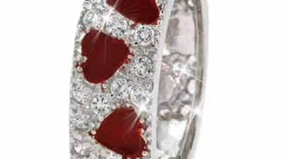 Sterling Silver Red Enamel and Simulated Diamond CZ Ring