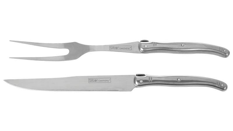 2PC CARVING SET IN WOOD BOX