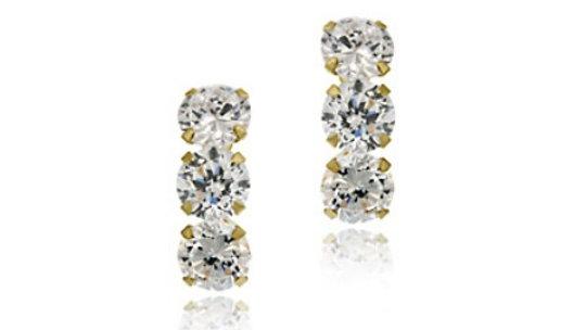 14k Gold over Sterling Silver Triple CZ Stud Earrings