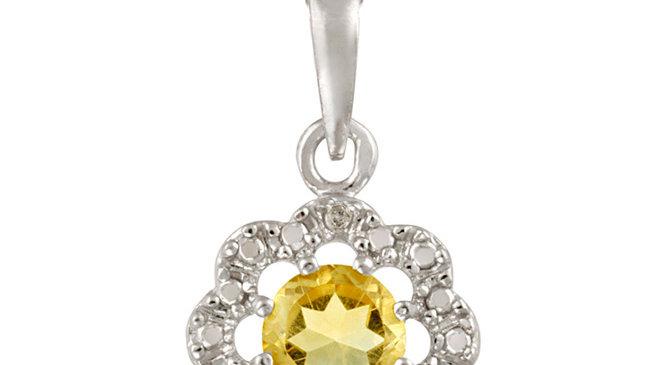 Sterling Silver Citrine & Diamond Accent Flower Pendant