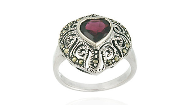 Sterling Silver Marcasite and Garnet Filigree Heart Ring Size 8
