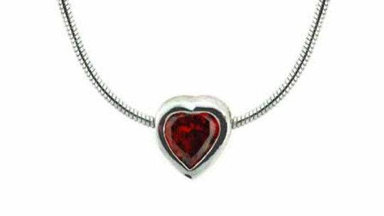 Sterling Silver Bezel Set Red cz Heart Pendant