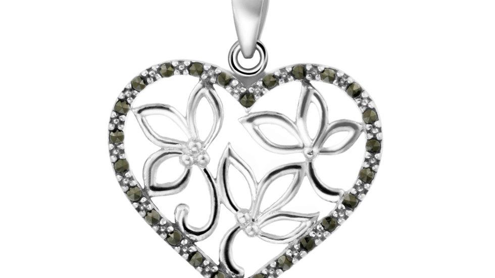 Sterling Silver Marcasite Filigree Heart Pendant