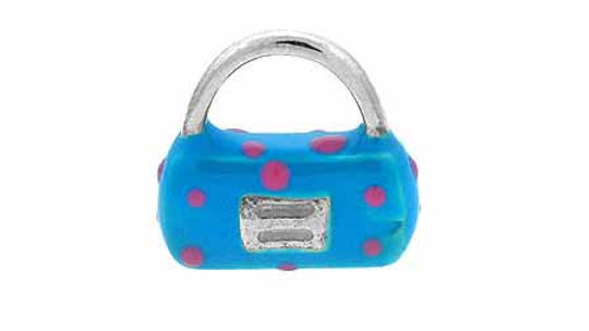 Sterling Silver Enamel Light Blue with Pink Polka Dots Hand Bag Purse Charm