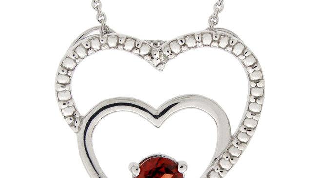 Sterling Silver Garnet & Diamond Accent Double Open Heart Pendant
