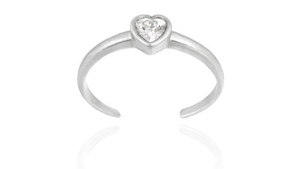 Sterling Silver CZ Heart Toe Ring
