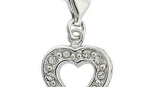 Sterling Silver CZ Open Heart Charm