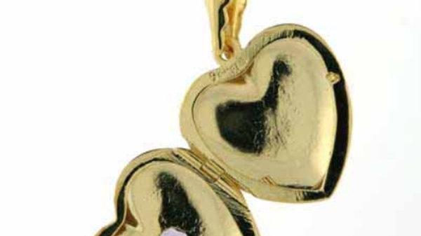 18K Gold over Sterling Silver Heart Locket w/ Heart-Shaped Genuine Amethyst