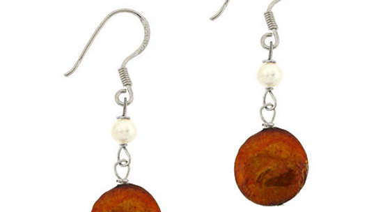 Sterling Silver Freshwater Cultured Amber & White Coin Pearl Dangle Earrings