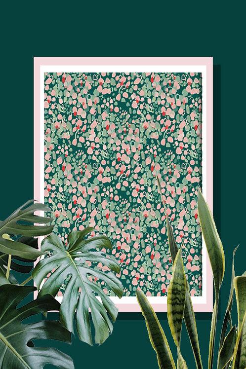 Duck Egg Spot Print / Tropical / Illustration / Wall Art