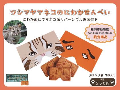 【福岡市動物園内Gift Shop Petit Monde 限定で「ツシマヤマネコにわかせんぺい」 販売中!】