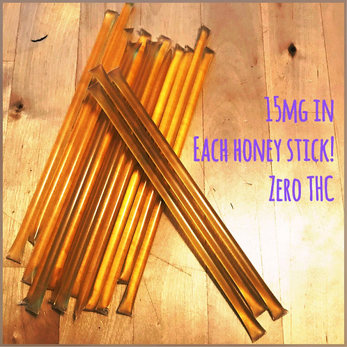 Five 15mg CBD Honey Sticks
