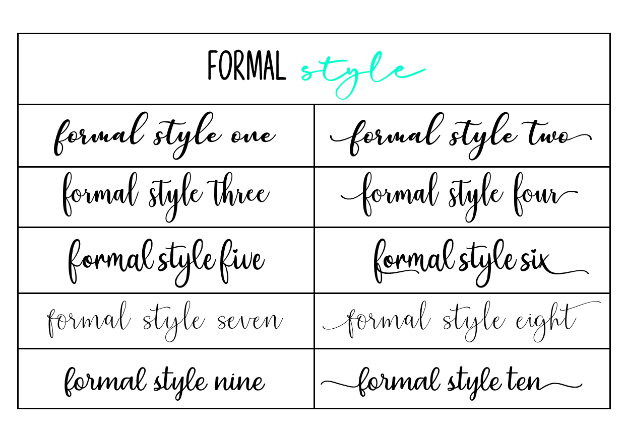 formal font style - Updated fonts April