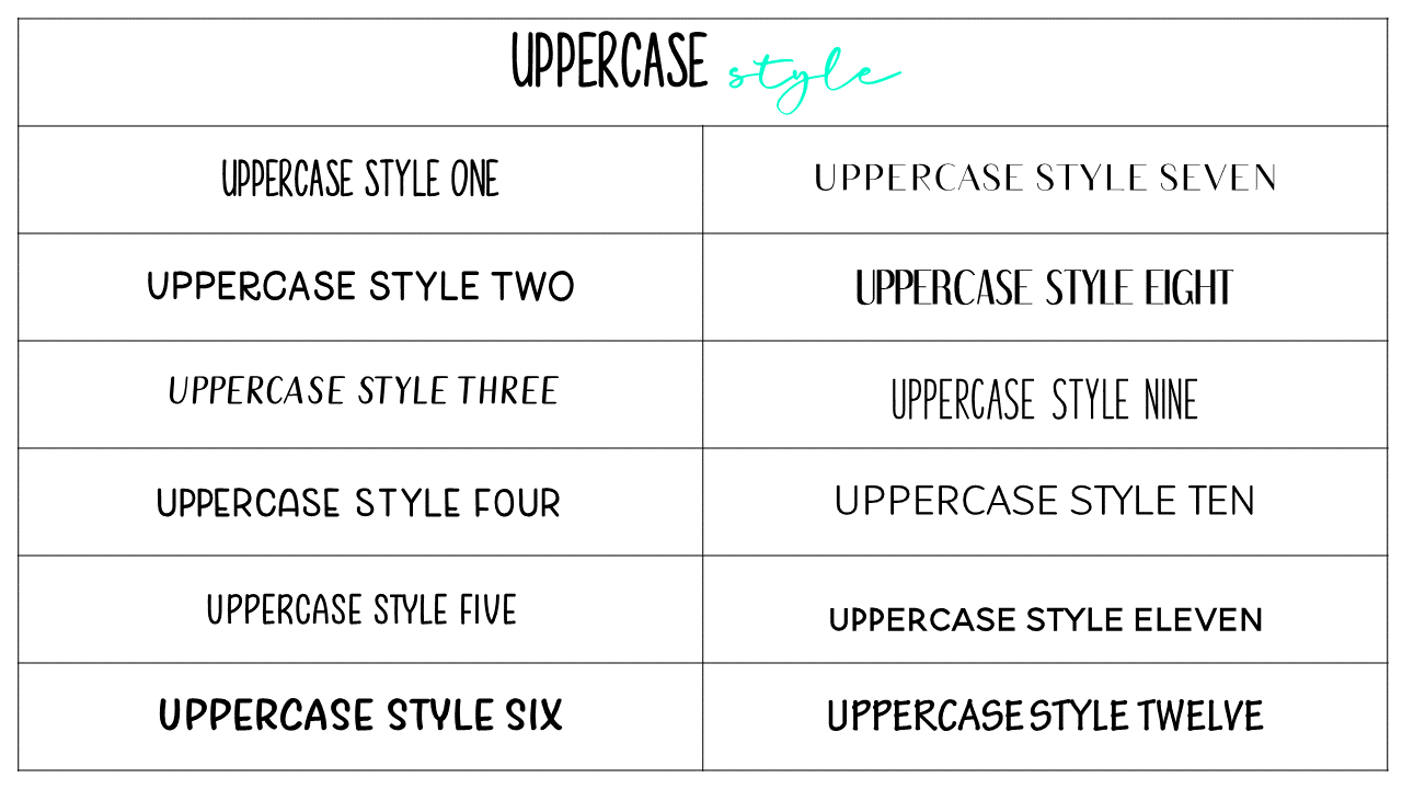 Uppercase Style - Updated Fonts April 20