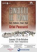 Uriel Pascucci, concierto de piano, Teatro Independencia, Mendoza