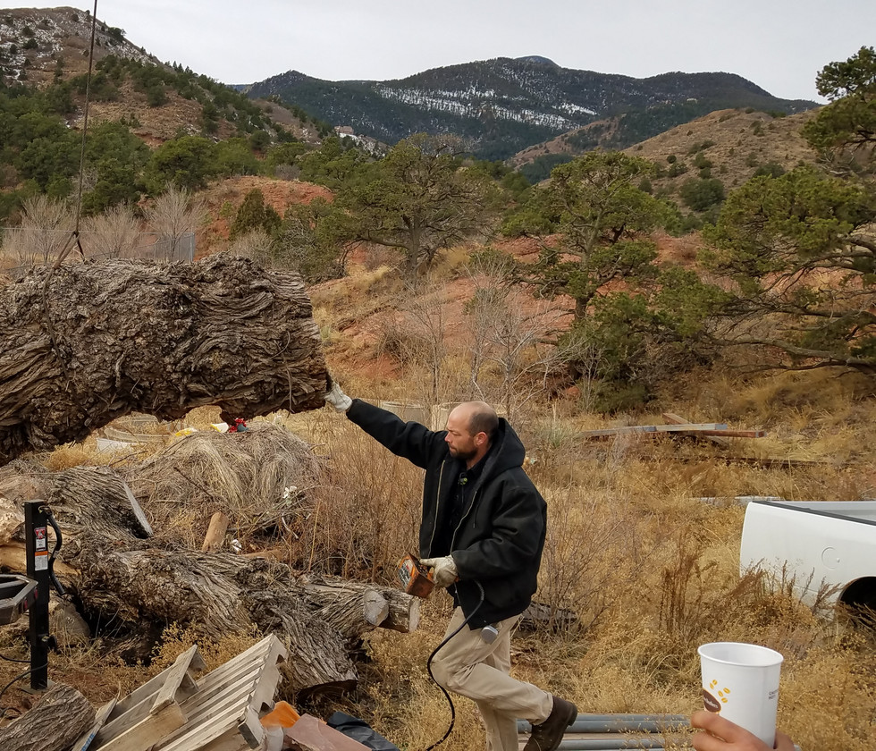 Fabricator Nicolas Ordahl moving the stump to be carved.