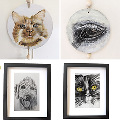 An image collage of four paintings.  A painted cat portrait, a painted horse eye portrait, a pencil drawing of a Bedlington Terrier dog, and a pencil drawing of a maine coon cat