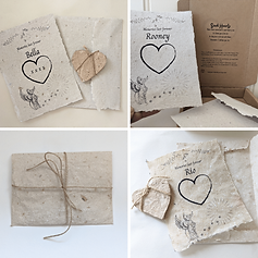 An image collage of four images showing a dog sympathy card made with handmae paper, and wrapped in twine.  The name of the dog, with an dog as an Angel, and seed hearts wrapped in twine, next to a poem about scattering seed hearts and thinking of your dog as they think of you too