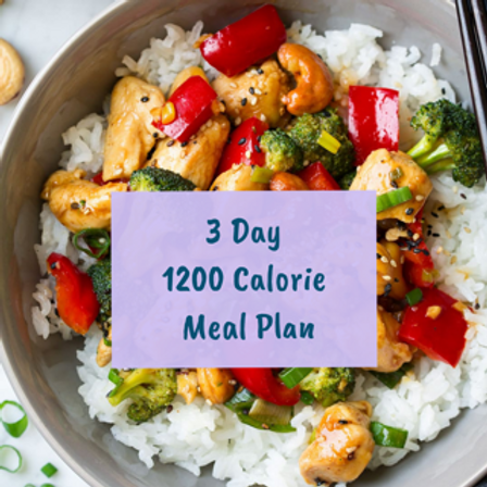 3 Day Standard Meal Plan (1,200 Calories)