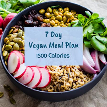 7 Day Vegan Meal Plan (1,500 Calories)