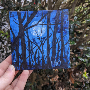 Moon and Forest Silhouette