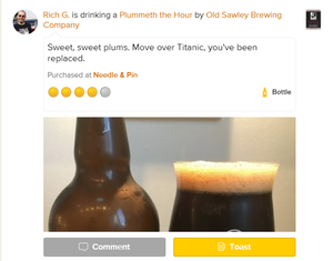 Plummeth the Hour crumble plum porter review on Untappd.