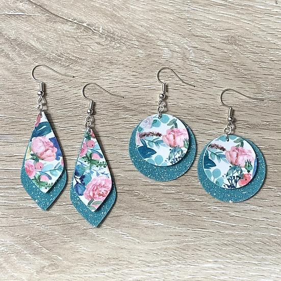 Blushing Spring Earrings on Teal Glitter