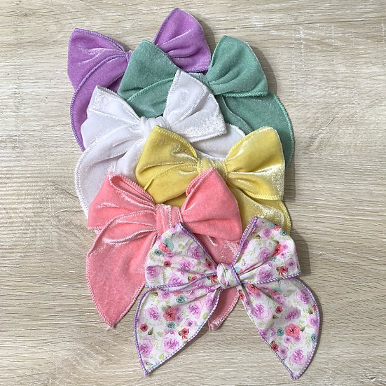 Velvet and Floral hand tied  Sailor bow