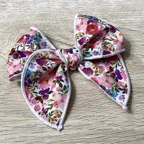 Garden Floral hand tied Sailor bow