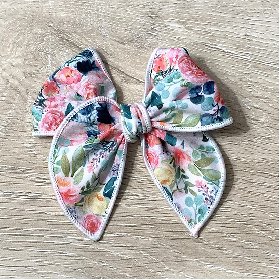 Blushing Spring hand tied Sailor bow
