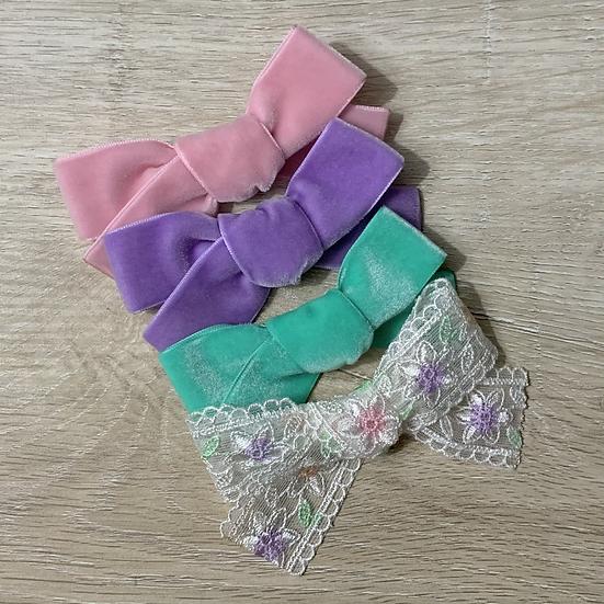 Pastel velvet Hand tied bow