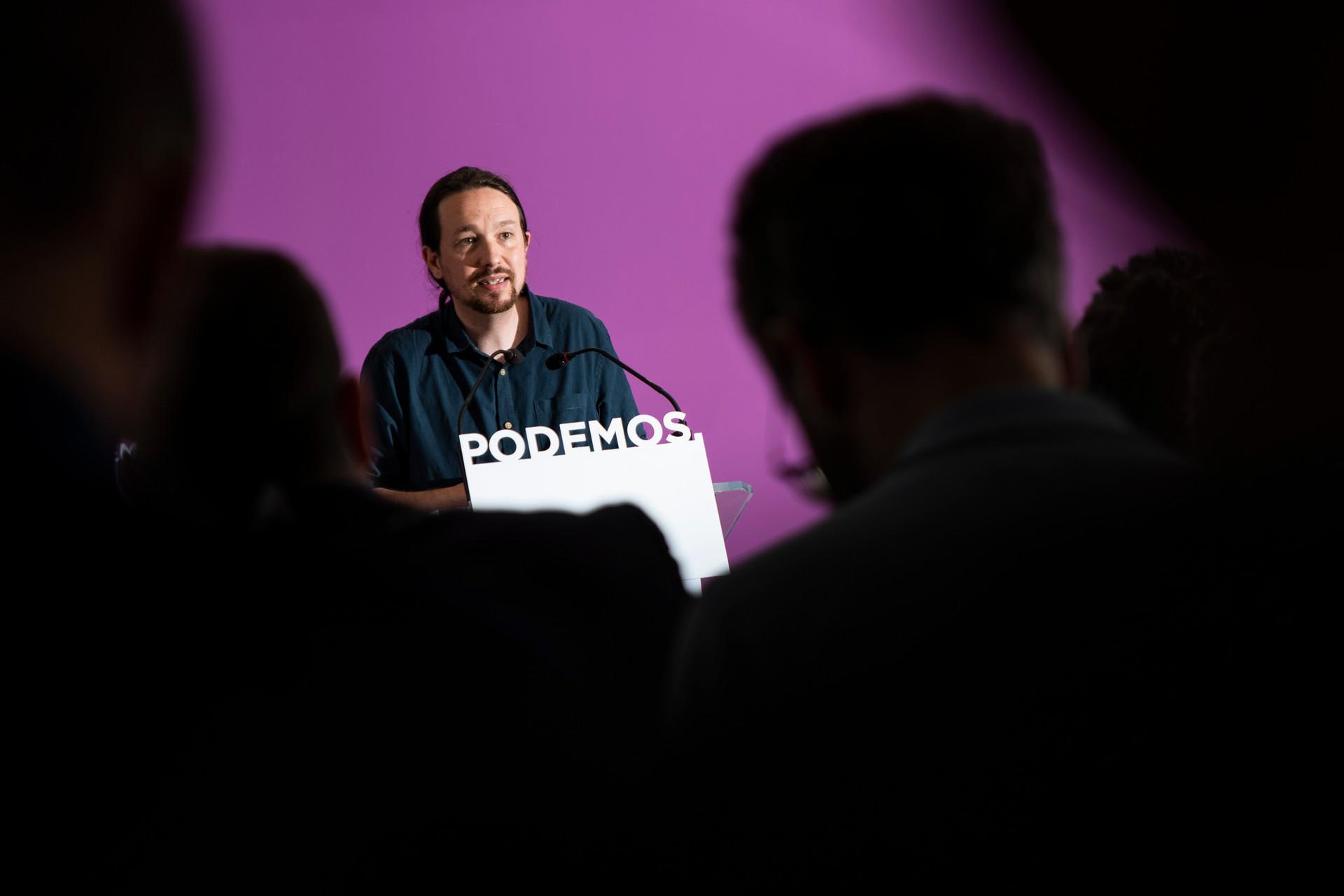 Pablo Iglesias en la sede de Podemos