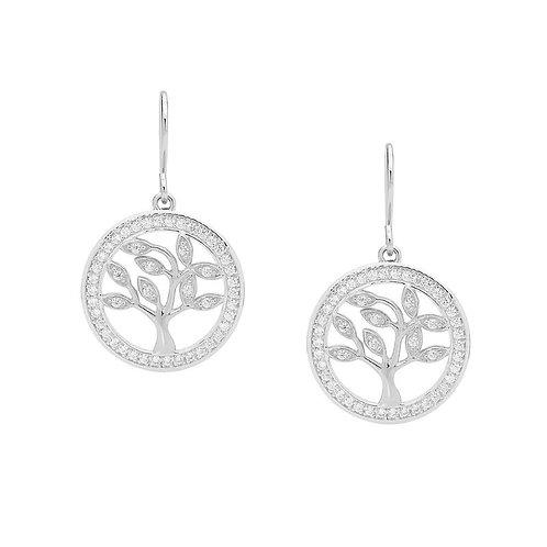 Tree of life Silver Drop Earrings - e457s