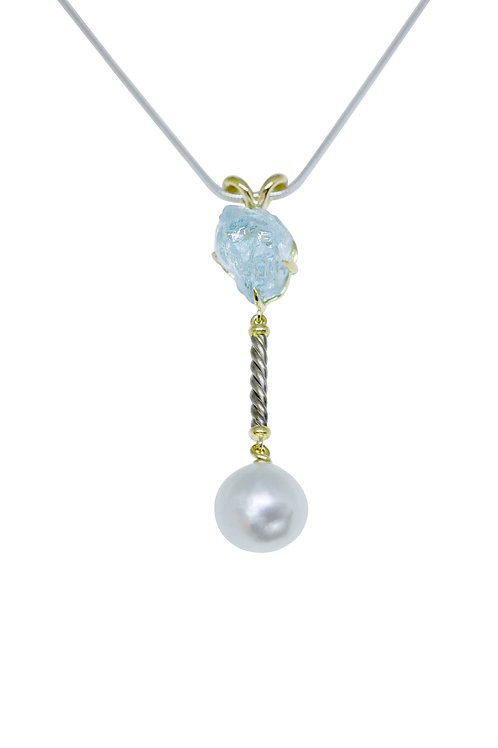 18ct Yellow and White Gold Pendant with Blue Aquamarine and Pearl Details