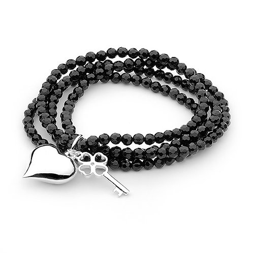Black Beaded Multiple Bracelets with Large Heart Charm - B148