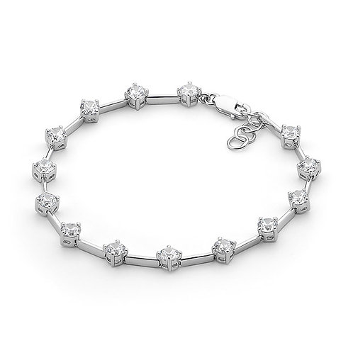 Single Spaced Cubic Zirconia Bracelet - B155