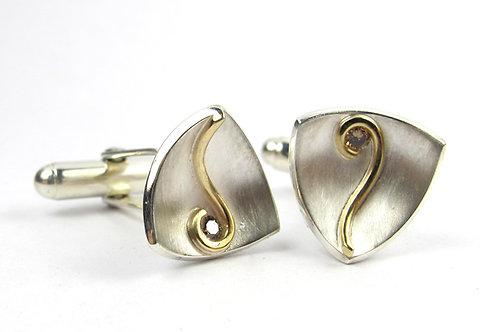 Gold and White Gold Scroll Diamond Cufflinks
