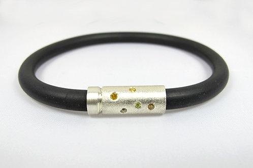 Stirling Silver Mens Diamond Neoprene Bracelet