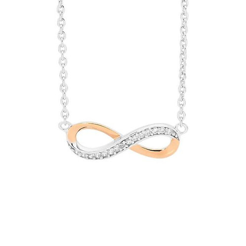 Silver and Rose Gold Infinity Pendant - P669R